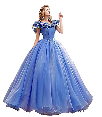 Chupeng Women's Princess Costume Butterfly Off Shoulder Cinderella Prom Gown Wedding Dresses Evening Gown Quinceanera Dress BLUE2 18