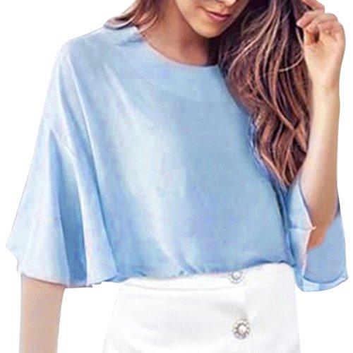 Soilde Sleeve Cou Bleu Blanc Flare Coupe Haut Haut O Mode Slim Bleu Courtes Trompette Shirt Flare Blouse Femmes Casual Manches Tops Rose Noir SOMESUN Courtes Crop Manches Beige BqSAS