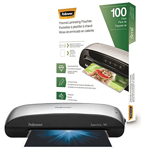 Fellowes Spectra 95 Home Office Craft Laminator with 100 Letter-Size 5mil Laminating Pouches by Fellowes