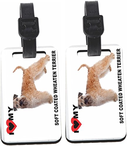 Rikki Knight I Love My Soft Coated Wheaten Terrier Dog Design Luggage Identifier Tag (1-sided) - with Strap Closure (Set of 4)