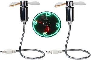 USB LED Clock Fan 90mm USB-Powered Portable Mobile USB Fan with Clock, LED Light Display Time, Mini Gooseneck Fan for Laptop Office Home Travel (2 PACK)