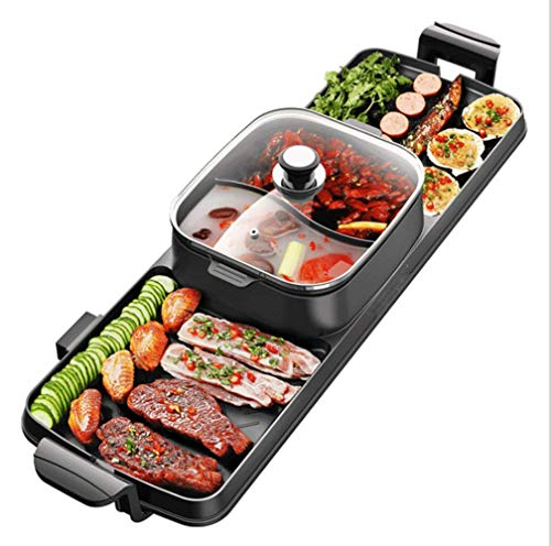 Table-Top Party Grill And Hot Pot(6-8 Persons),Electric Raclette-Non Stick- Great Gift Idea (Stone Fish Grill)