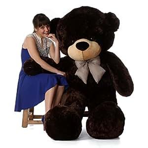 6 Foot Life-size Teddy Bear Rich Chocolate Brown Cuddly Stuffed Toy Bear Brownie Cuddles