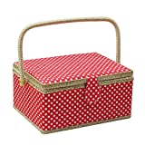 D&D Sewing Basket Organizer, Wooden Sewing Box with Sewing Kit Accessories/Insert Tray/Handle/Built-in Pincushion & Interior Pocket - Red Polka Dot - Large