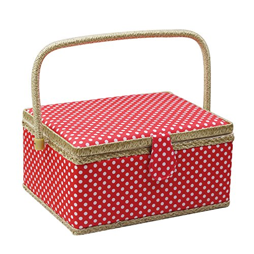 D&D Sewing Basket Organizer, Wooden Sewing Box with Sewing Kit Accessories/Insert Tray/Handle/Built-in Pincushion & Interior Pocket - Red Polka Dot - Large by D&D