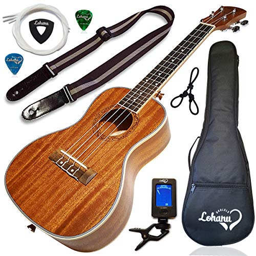 Ukulele Concert Size Bundle From Lohanu (LU-C) 2 Strap Pins Installed FREE Uke Strap Case Tuner Picks Hanger Aquila Strings Installed Free Video Lessons BEST UKULELE BUNDLE DEAL Purchase Today! (Best Ukulele For Beginners)