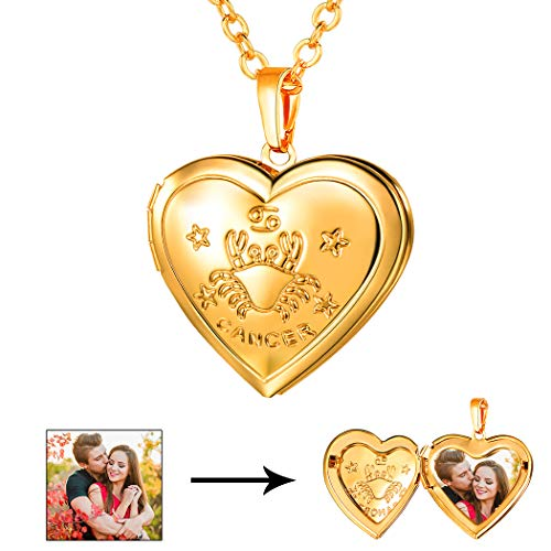 Sign Zodiac Cancer Horoscope (U7 Heart Shaped Photo Locket Pendant Necklace 18K Gold Plated Horoscope Cancer Zodiac Sign Jewelry, Unisex Style)