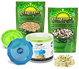 Masontops Bean Sprouting Bundle - 2 Bean Screen Sprouting Lids & 2 Sprout Seed Mixes - Wide Mouth Mason Jar Strainer