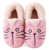 Wishwhat Toddler Little Kid Cat Pattern Kids Warm Slippers Home Slippers (5.5 M Toddler, Pink)