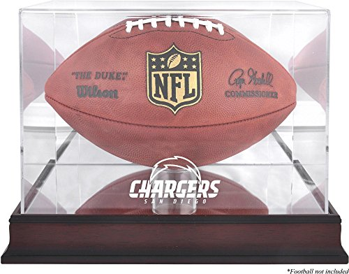 San Diego Chargers Display - San Diego Chargers Mahogany Football Logo Display Case and Mirror Back