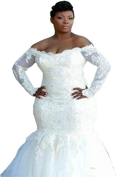 Dreamdress Women S Mermaid Wedding Dresses Plus Size Long Sleeve