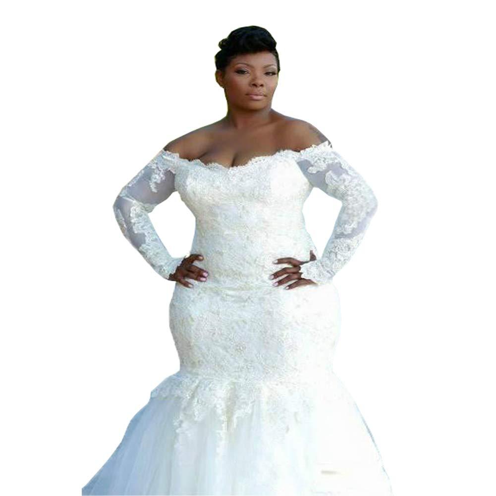 Dreamdress Women\'s Mermaid Wedding Dresses Plus Size Long Sleeve Bridal  Gowns