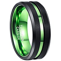 Nuncad Men's 8mm Green & Black Tungsten Carbide Ring Matte Finish Beveled Grooved Wedding Band Comfort Fit Size 7 to 12