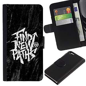 A-type (Encontrar Mensajes Nuevos Caminos Negro Inspiring) Colorida Impresión Funda Cuero Monedero Caja Bolsa Cubierta Caja Piel Card Slots Para Apple (4.7 inches!!!) iPhone 6 / 6S