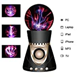 ElementDigital Magic Plasma Ball Touch Sensitive Plasma Ball with Bluetooth Speaker Desdtop Light Lightning Lamp Party Xmas Gift Fantastic Flashing Lightning Ball Spherical (Black+Gold)