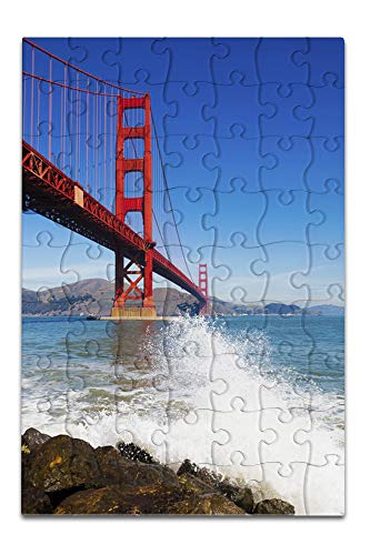 San Francisco, California - Golden Gate Bridge and Ocean Spray - Photography A-92293 (8x12 Premium Acrylic Puzzle, 63 Pieces) ()