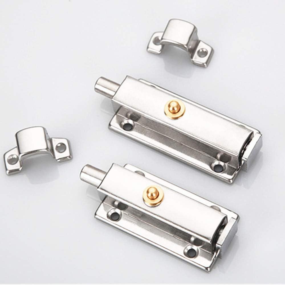 2 pernos de resorte automático de acero inoxidable con botón de bloqueo de puerta antirrobo y ensanchamiento de puerta, plateado