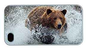 Hipster cheap iPhone 4S cover Bear Running PC White for Apple iPhone 4/4S