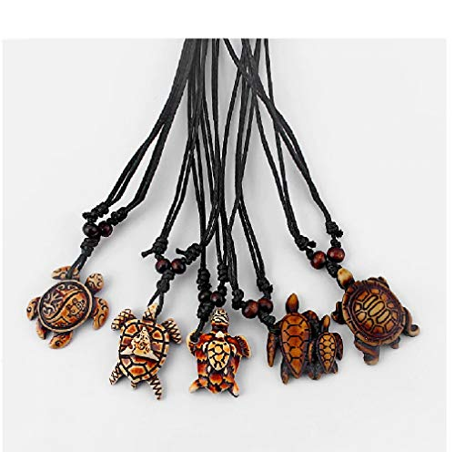 (SunMoon 5pcs Mixed Styles Ethnic Tribal Brown Faux Yak Bone Sea Turtle Surfer Pendants Necklace Black Wax Cotton Cord Adjustable)