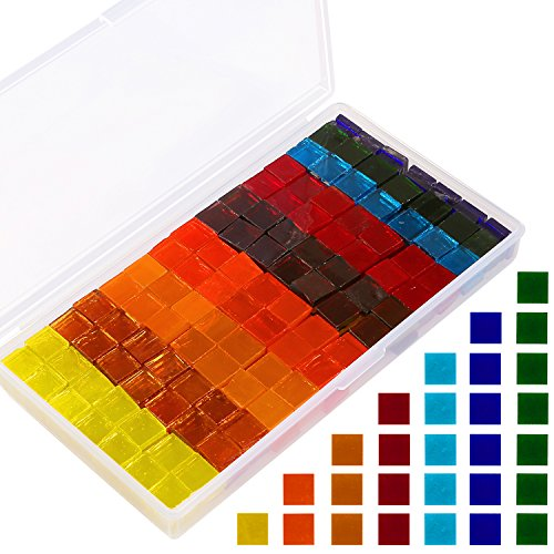 Resinta 400 Pieces/ 250 g Multicolor Mosaic Tiles Mosaic Glass Pieces with Plastic Container for DIY Crafts or Home Ornament, Semitransparent, 1 by 1 cm