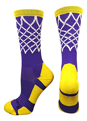 Purple Basketball Shoe - MadSportsStuff Crew Length Elite Basketball Socks with Net (Purple/Gold, Medium)