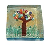 Genuine Murano Glass Paperweight, 24k Gold with Embedded Tree of Life Design, Gift Boxed