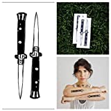 Tattify Switch Blade Temporary Tattoo - Double Dagger Switchblade Extravaganza (Set of 4) - Other Styles Available and Fashionable Temporary Tattoos