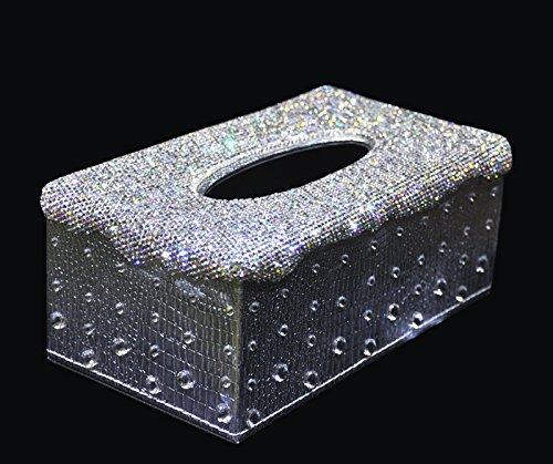 Bestbling 車のエアコン吹き出し口用 キラキラ光るクリスタルの携帯電話ポケットバッグ ポーチボックス ストレージオーガナイザー キャリングケース シルバー TA02 B071GMCFNG Tissue box Silver