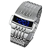 INFANTRY Mens Blue LED Digital Electronic Sport Wrist Watch Silver Stainless Steel Band