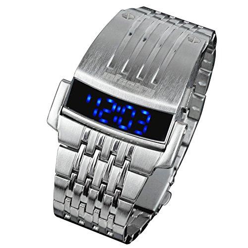 INFANTRY Mens Blue LED Digital Electronic Sport Wrist Watch Silver Stainless Steel (Digital Silver Wrist Watch)