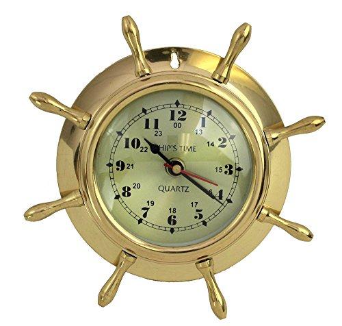 "7.5"" Brass Lacquered Ship's Wheel Clock - Hanging Wall Decor (Wheel Ship Clock Captains)"