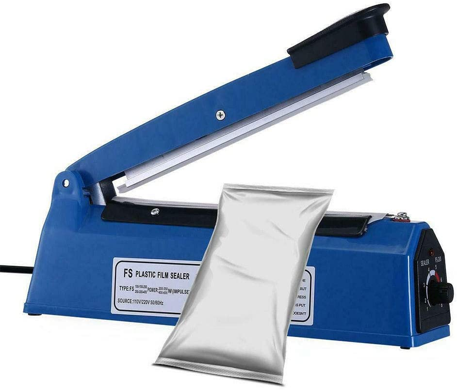 Impulse Plastic Heat Sealer Sealing Machine Manual Bags Sealer for Plastic Bags PE PP Bags US Standard Blue 8/""