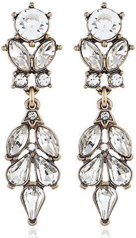 Pendientes largos de estilo europeo y americano, estilo retro, con piedras preciosas de cristal y hojas