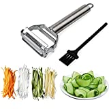 Sunkuka Julienne Peeler Stainless Steel Cutter Slicer with Cleaning Brush Pro for Carrot Potato Melon Gadget Vegetable Fruit