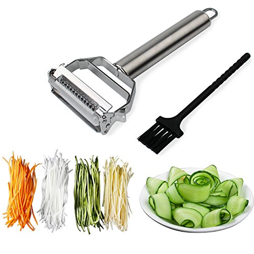 - Sunkuka Julienne Peeler Stainless Steel Cutter Slicer with Cleaning Brush Pro for Carrot Potato Melon Gadget Vegetable Fruit