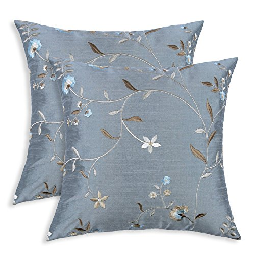 Pack of 2, Euphoria CaliTime Cushion Covers Throw Pillow Cases Shells Both Sides, 17 X 17 Inches, Floral Leaves Embroidered