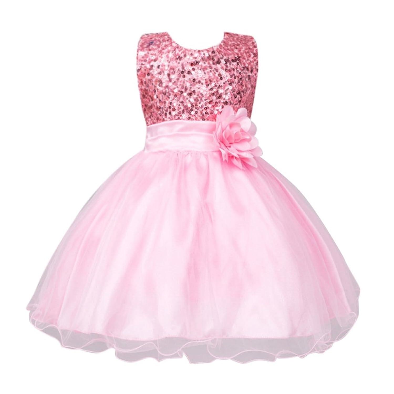 a1d64b7b9fd62 EXIU Enfants filles paillettes fleur bowknot Robe de Mariage 3-10 ...
