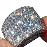 UOKOHO 16mm Wide White Gold Color Big Ring Luxury Cubic Zirconia Engagement Rings For Women Fashion Jewelry for Men Women Mothers Day Gifts (8)