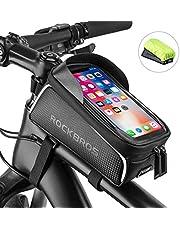 ROCKBROS Bike Phone Frame Bag Bike Phone Mount Bag Bike Accessories Waterproof Top Tube Bike Phone Case with Sensitive Touch Screen Bicycle Pouch Fits Phones Under 6.5''