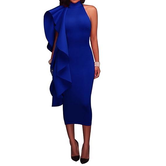 bbbf215ccc24 HANMAX Robe Crayon de Soirée Cocktail Longue Femme Asymétrique Col Haut Une  Manche à Volants Robe