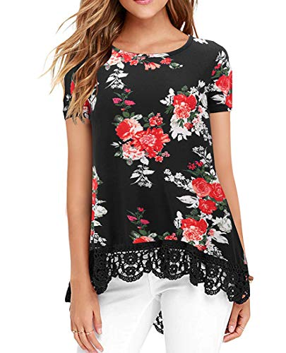 UUANG Womens Short Sleeve High Low Tunic Tops Flower T-Shirt Blouse (Floral Black,M)