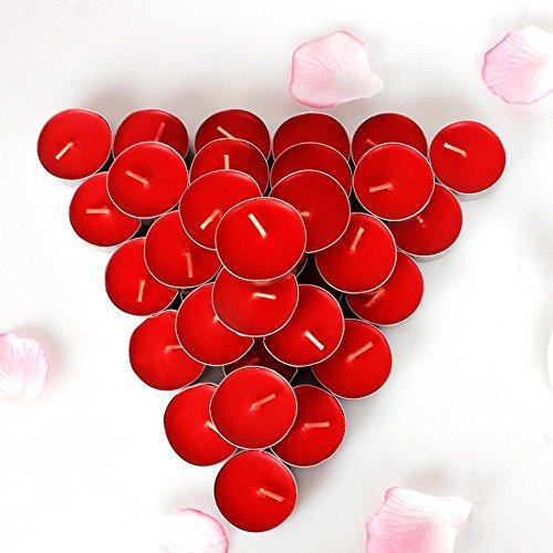 Rightwell 50 Stücke Rote Teelichte Weihnachten Kerzen Romantisch Hochzeit Kerzen Votiv Teelichter Rot ohne Duft für Hochzeits,Party,Geburtstag,Abendessen,Weihnachten