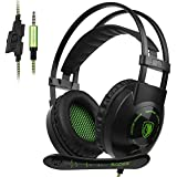 SADES SA801T Over-Ear Stereo Gaming Headset with Microphone Noise Isolation for New Xbox One PC Mac Tablets PS4 Laptop Phone-Black Green