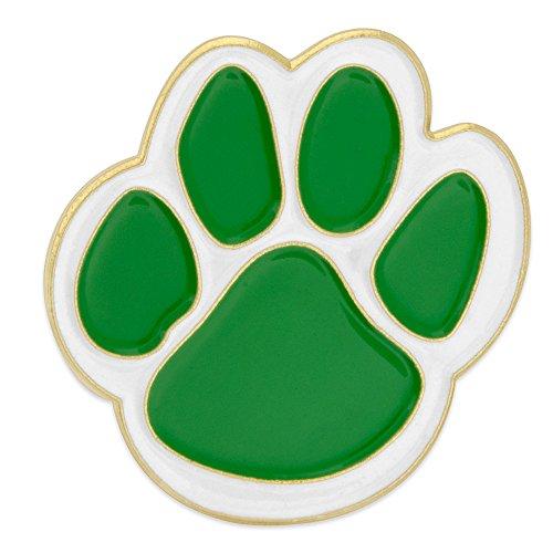 Paw Print Enamel (PinMart's Green and White Animal Paw Print School Mascot Enamel Lapel Pin )