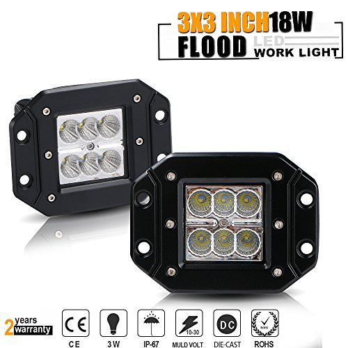 TURBOSII Flood 3X3 Flush Mount Waterproof Pods Cube Reverse Backup Auxiliary Driving Fog Lights Front Rear Bumper Offroad Work Light Bar Toyota Tacoma Tundra JEEP Dodge Ram Pickup Truck Jeep ATV