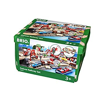 Image of Baby Brio World 33052 - Deluxe Railway Set - 87 Piece Wooden Toy Train Set for Kids Age 3 and Up