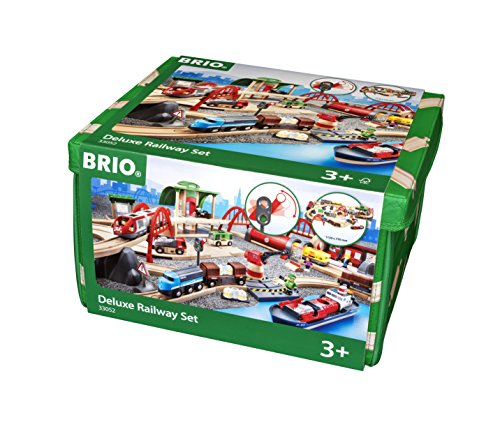 BRIO World 33052 - Deluxe Railway Set - 87 Piece Wooden Toy Train Set for Kids Age 3 and Up