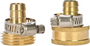 "REGNHLIF Brass Garden Hose Connector Repair Mender Kit with Stainless Clamp,Fits 1/2"" Water Hose Fitting"