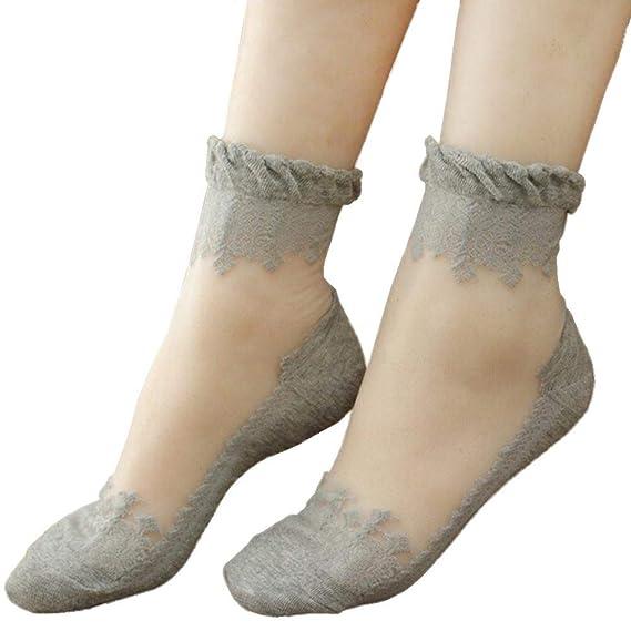 VJGOAL Mujeres de moda casual color sólido Ultrafino Transparente Hermosa Crystal Lace elástico calcetines cortos(