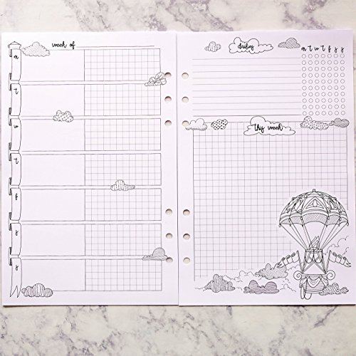 Weekly Coloring Planner Insert for use with six ring planner such as Filofax and Kikki K (A5 compatible)